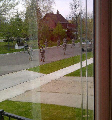 U.S. Troops Fully Armed Patrolling Neighborhood Streets – 5/2/12
