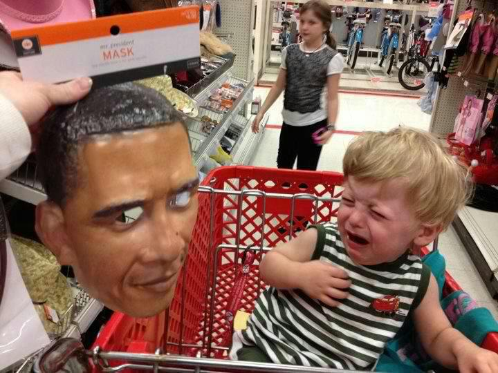 Obama Halloween Mask frightens little boy