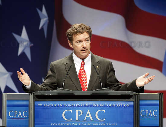 Senator Rand Paul speaks during the 38th annual Conservative Political Action Conference in Washington