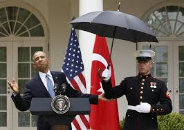 Obama calls in the Marines to hold his umbrella