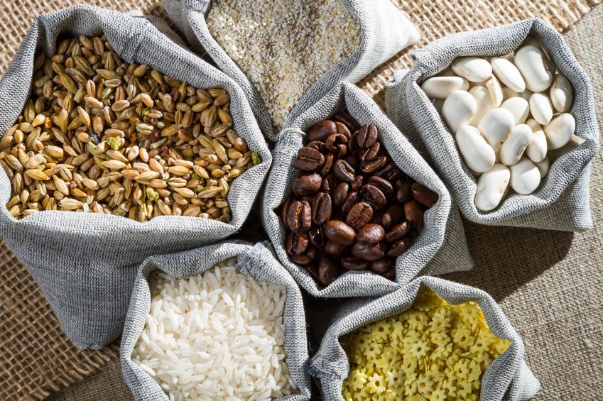 Several ingredients food in cloth bags
