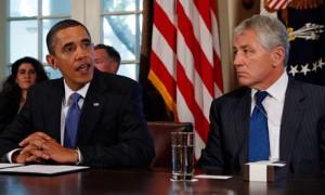 Barack Obama with Senator Chuck Hagel, 2009