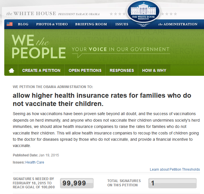 whitehousehealthinsurancemeaslespetition
