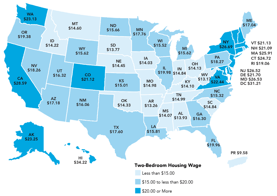 Report average rent needed for one bedroom apartment more Cost of living in different states in usa