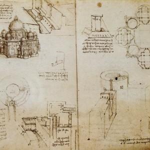 1487-1490-Léonard-de-Vinci-Eglise-de-plan-centré-vue-à-vol-doiseau-et-en-plan-avec-des-projets-darchitecture-militaire-300x300