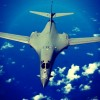 ANDERSEN AIR FORCE BASE, GUAM -- A B1B Lancer from the 37th Expeditionary Bomb Squadron, 28th Bomb Wing, Ellsworth Air Force Base, South Dakota, soars over the Pacific Ocean after a air refueling training, 30 Sept, 2005. The B1B Bomber is deployed to Andersen AFB as part of the Pacific Commands continuous bomber presence in the Asia-Pacific region, enhancing regional security and the U.S. commitment to the Western Pacific.   (U.S. Air Force Photo by: SSgt Bennie J. Davis III) (RELEASED)