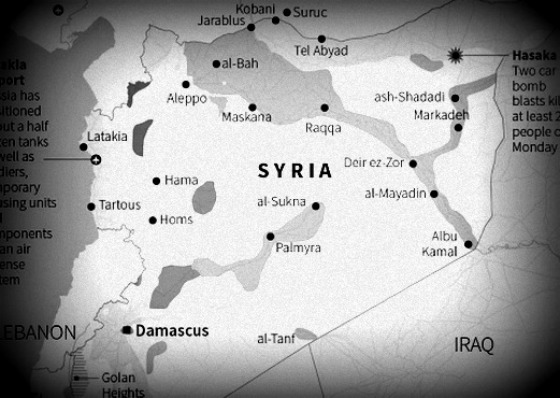 Syria map black and white