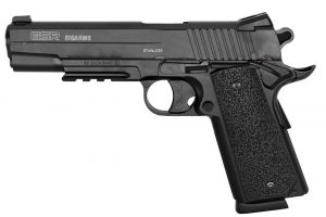 A semi-automatic BB gun air pistol. (This is NOT the gun on found at the scene of this shooting. It is a typical looking BB gun pistol.)