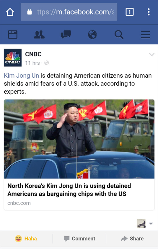 A screenshot of CNBC tagging the parody page made to poke fun at Kim Jong-Un.