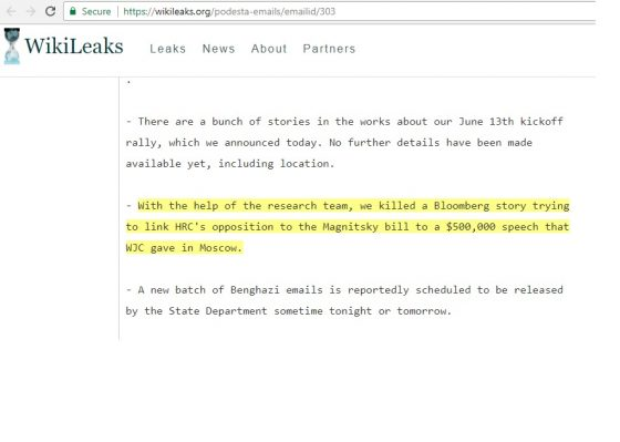 Wikileaks Podesta emails ID 303. Verify authenticity here.