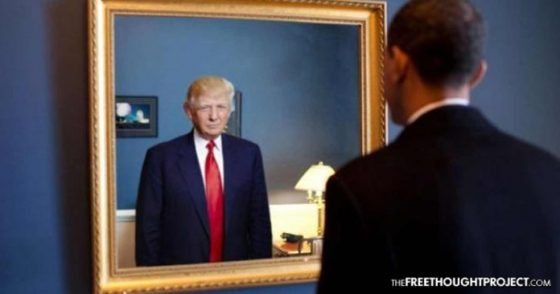 trump and obama mirror