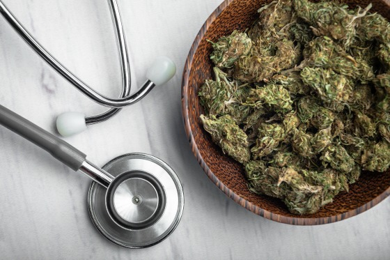 Buds of Medical Marijuana with stethoscope
